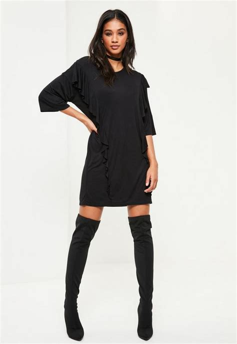 Blue Mix Lace Shirt Dress black frill front t shirt dress missguided