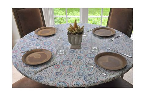 elastic flannel backed vinyl fitted table cover multi
