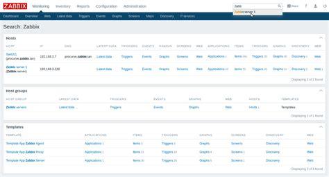 International Asset Search Zabbix Web Frontend
