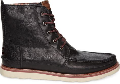toms black leather s searcher boots in black for