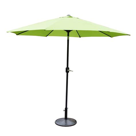 9ft Patio Umbrella 9 Ft Tilt Patio Umbrella With Cast Iron Patio Umbrella Base Hd4005gnk4230ab The Home Depot