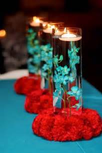 Cylinder Vases With Floating Candles And Flowers Simple Colourful Centerpiece Wedding Red Amp Teal Aqua