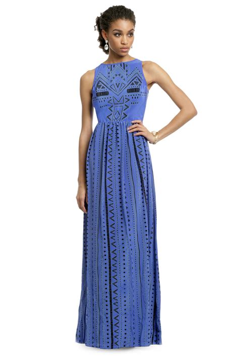 Tribal Blue Chika Dress into the blue tribal gown by tibi for 100 rent the runway