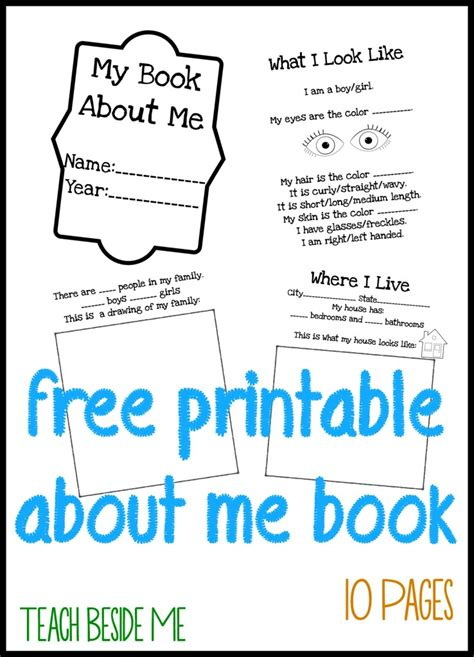 printable picture book about me books for teach beside me