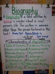 anchor chart for biography and autobiography biography anchor charts and anchors on pinterest