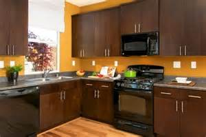 Dark Kitchen Cabinets With Black Appliances black appliances and polished aluminum handles contrast with rich dark