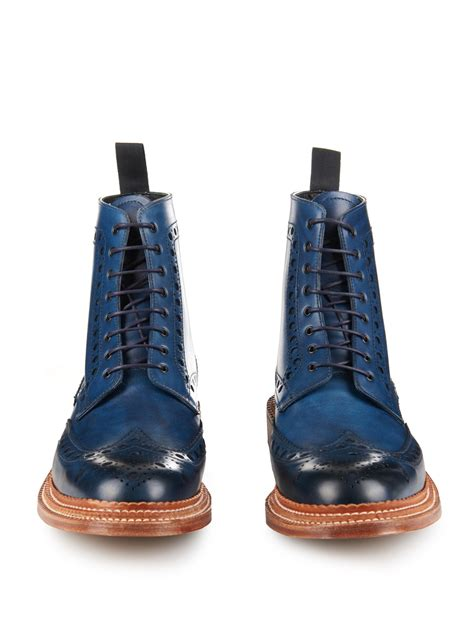 mens blue boots lyst foot the coacher fred leather brogue boots in blue