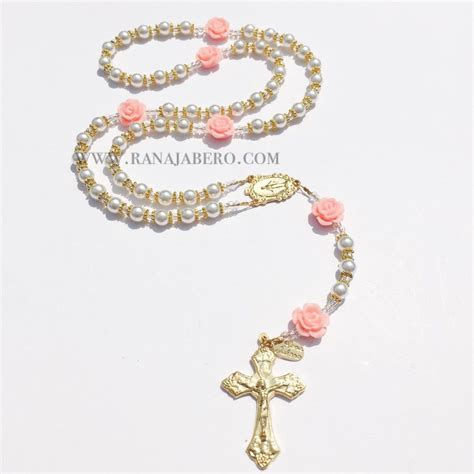 rose tattoo with rosary beads pearl rosary can be personalized
