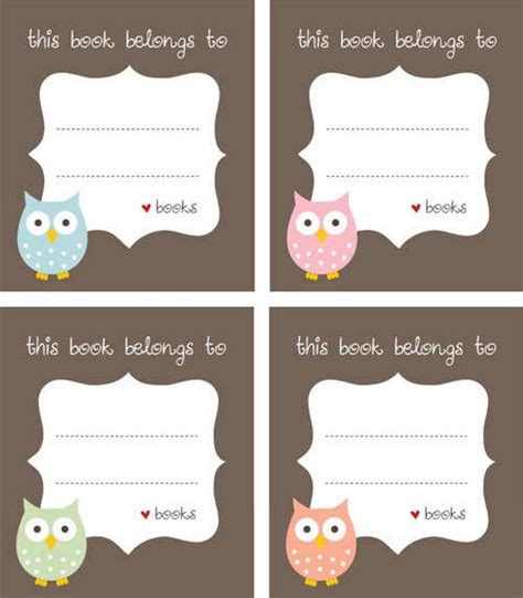 printable owl label 14 best bookplate labels book label templates images on