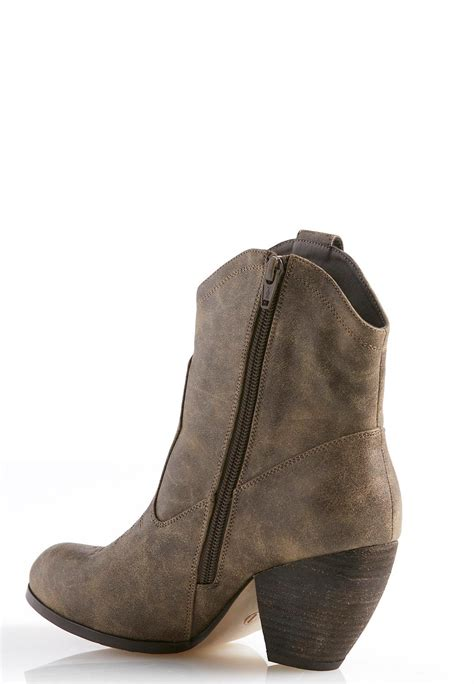 cato boots stitched western ankle boots mid height cato fashions