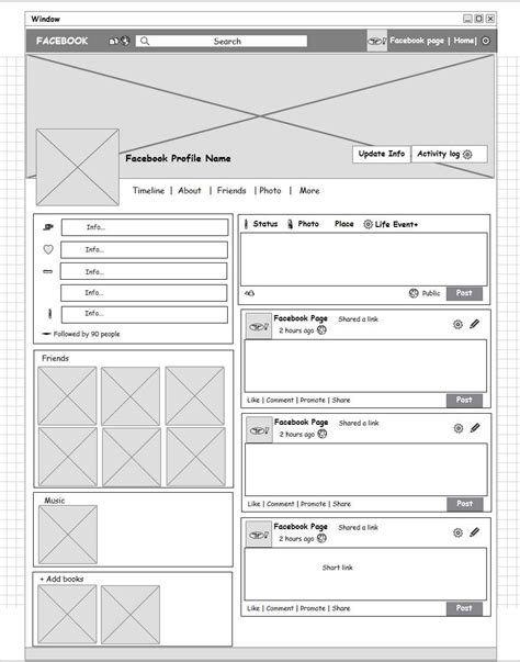 wireframe profiles social network profile page wireframe mockup builder