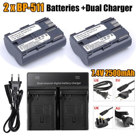 Charger Bp 511 A 2pcs 2500mah bp 511 bp 511 bp511 bp511a batteries dual