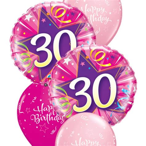 Pink 30th birthday balloon bouquet party fever