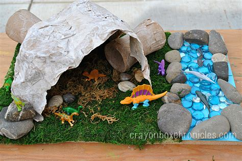How To Make A Paper Mache Cave - paper mache dinosaur cave crayon box chronicles