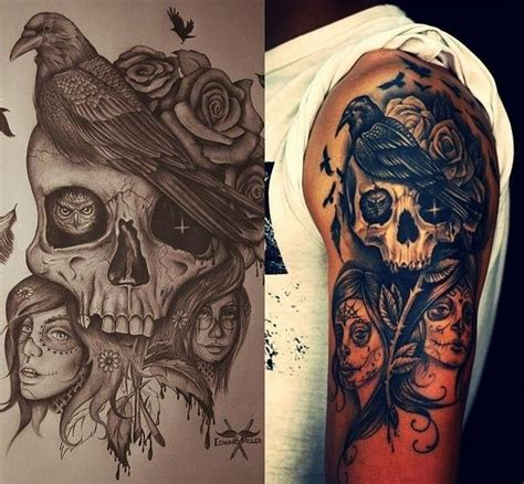 raven and skull tattoo skull and my wishlist