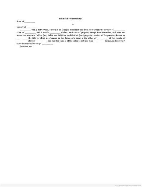 sle printable financial responsibility form sle