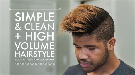relaxed black male hair simple clean everyday high volume hairstyle tutorial