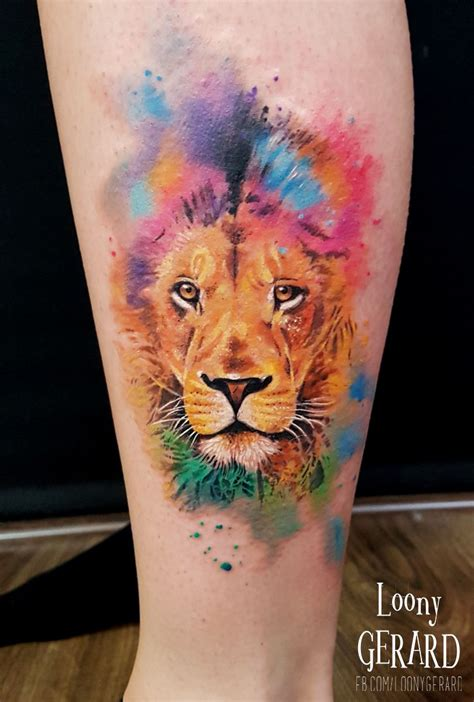 watercolor tattoo lion by loonygerard poland watercolour tattoos