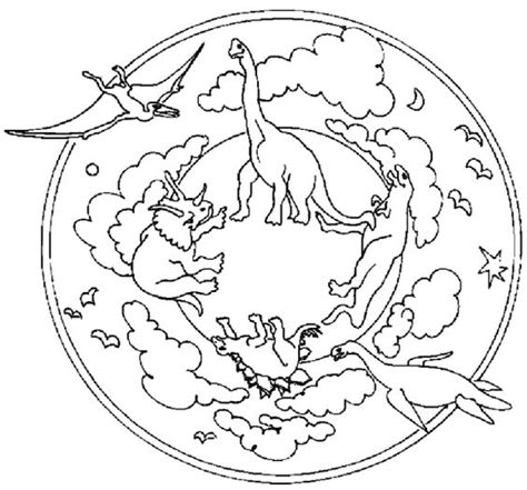 Dinosaur Mandala Coloring Pages   dinosaur mandala coloring pages lineart designs mandalas