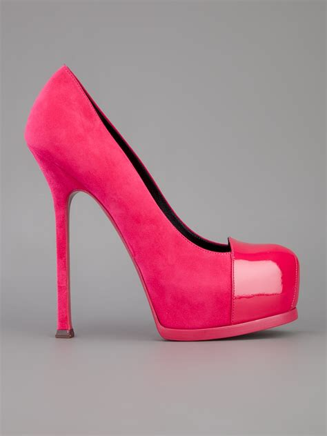 shoeniverse ysl tribtoo pumps in suede and patent pink
