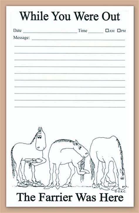 while you were out while you were out farriers note pad www hoofprints com
