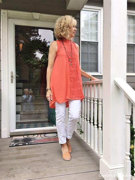 summer fashion for 50 plus on pinterest fashion over 50 white jeans and coral southern hospitality