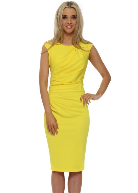 Dress Midi Vb 74 rinascimento yellow pencil dress
