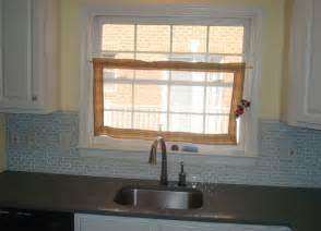 glass tile backsplash around window cottage kitchen