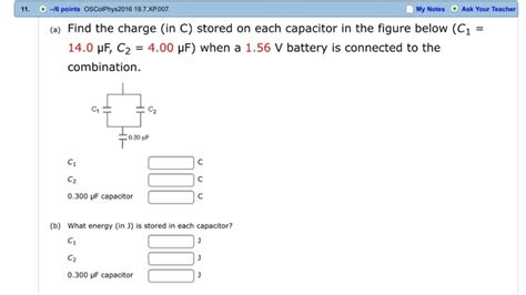 determine the charge on each capacitor find the charge in c stored on each capacitor in chegg