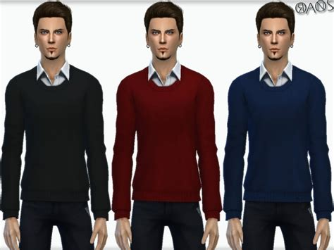 sims 4 cc male geek shirts oranostr s knit sweater with shirt