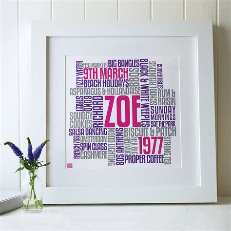 typography gifts personalised birthday typographic artwork by more than words notonthehighstreet