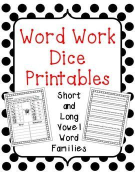 printable vowel dice tons of fun word work dice printable the packet includes