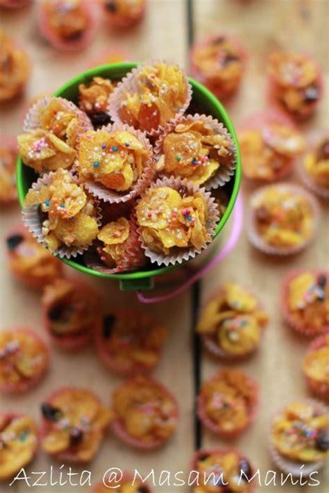 kek buah kukus jimat masa cepat mudah dan ringkas masam manis cornflakes madu azlita kek biskut