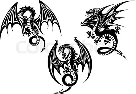silhouettes of black dragon with outstretched wings and