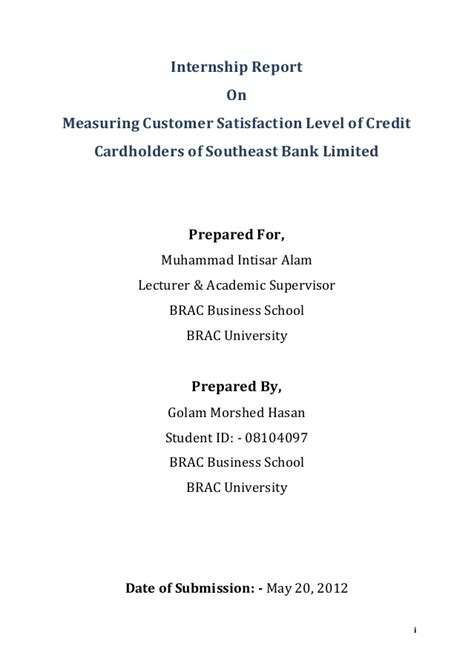 United Bank Limited Letter Of Credit Internship Report On Measuring Customer Satisfaction Level Of Credit