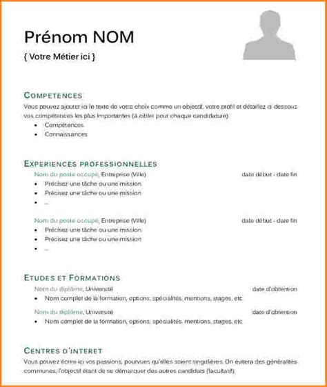 Exemple Type Cv by Model De Cv Simple En Francais Modele Cv Pour Etudiant