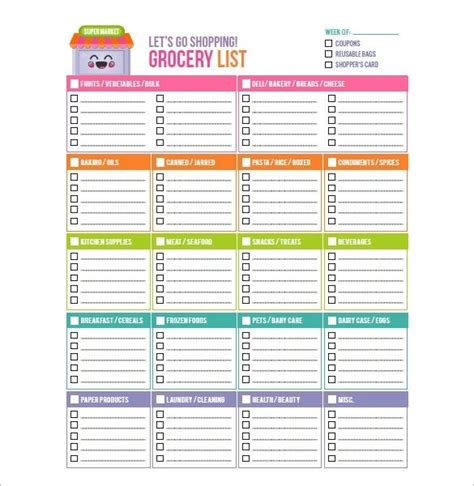 printable shopping list template australia 8 blank grocery list template free word excel pdf