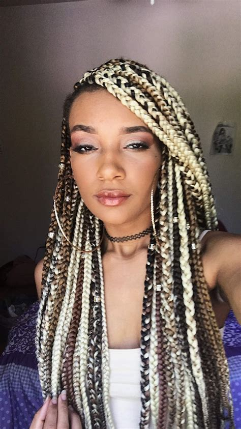 large black and blond braids blonde box braids with a side cut box braids hairstyles