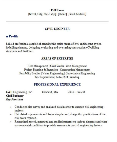 civil engineering resume sles 28 images resume format