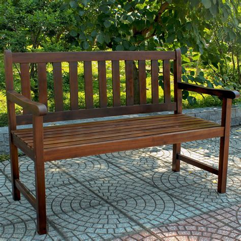 Outdoor Wood Bench International Caravan Acacia Wood 49 Inch Bench