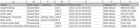 how do i export my opportunities to a excel list