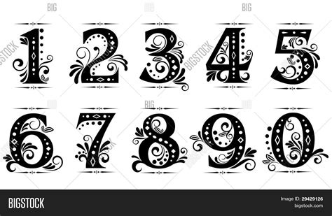 vintage digits numbers vector amp photo bigstock