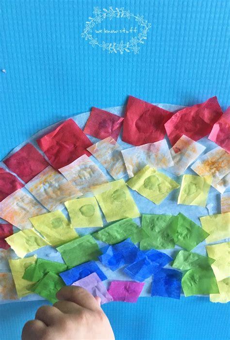 Tissue Paper Suncatcher Craft - suncatcher craft with tissue paper stained glass rainbows