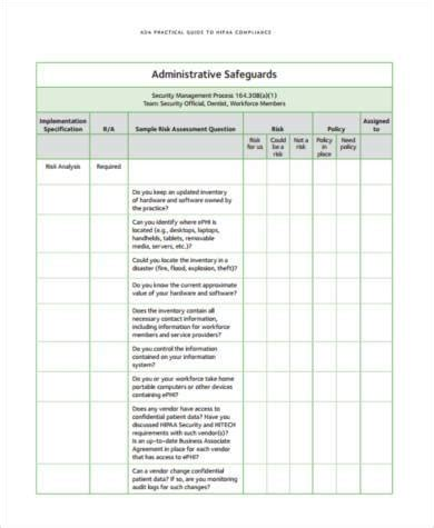 hipaa risk assessment template sle security risk assessment forms 7 free documents