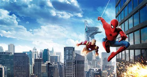 wallpaper spider man homecoming iron man hd