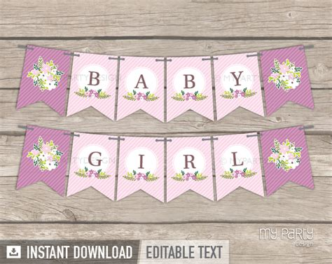 printable banners for baby shower floral baby shower printable banner my party design