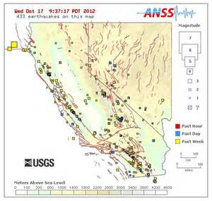 real time earthquake map of california and nevada on