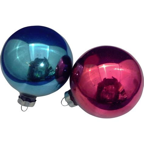 blue red blown glass christmas ornaments pair vintage made