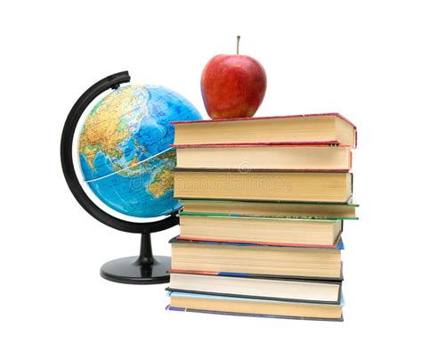 apple picture book globe books and apple isolated on white background stock