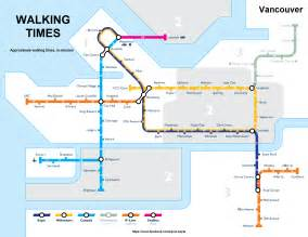 canada line stops map map of walking times between skytrain and b line stations